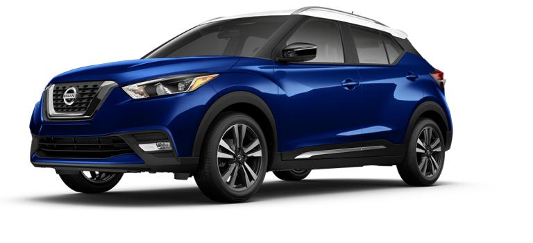 2018 Nissan Kicks Deep Blue and Fresh Powder side view