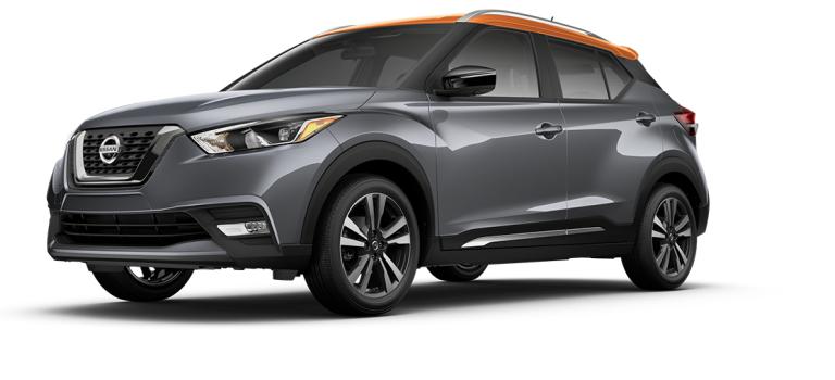 2018 Nissan Kicks Gun Metallic and Monarch Orange side view