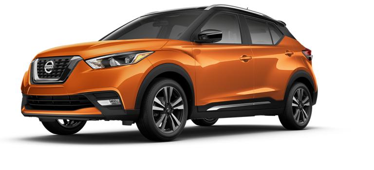 2018 Nissan Kicks Monarch Orange and Super Black side view