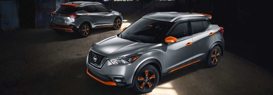 2018 Nissan Kicks gray and orange side view