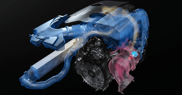 Nissan VC-Turbo engine with hot and cold air visualized