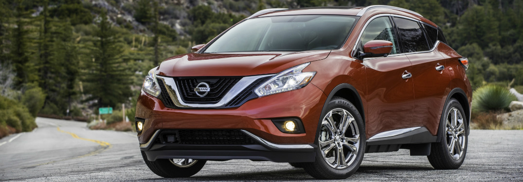 front and side view of orange 2018 nissan murano
