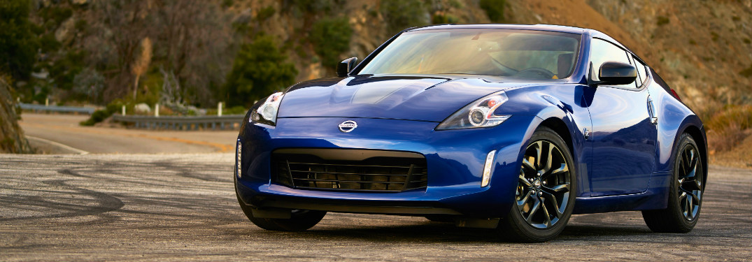front and side view of blue 2019 nissan 370z with heritage edition package
