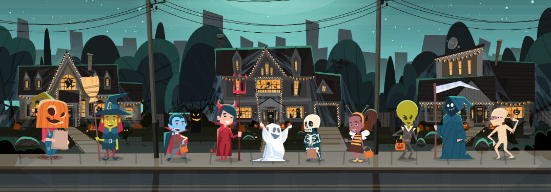 graphic illustration of little kids in costumes trick or treating houses
