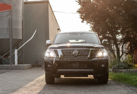 front view of black 2019 nissan armada
