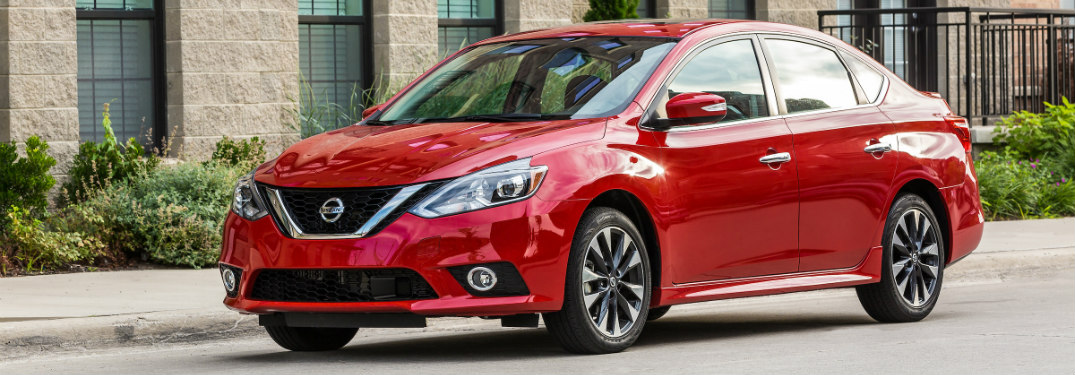 front and side view of red 2019 nissan sentra