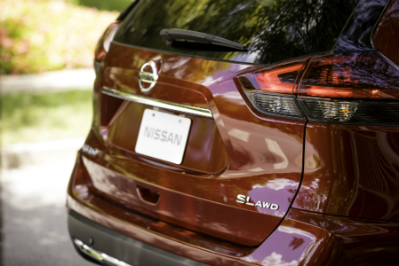 rear end of red 2019 nissan rogue