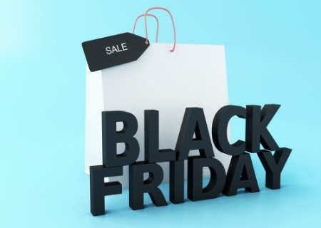 black friday graphic illustration with shopping bag