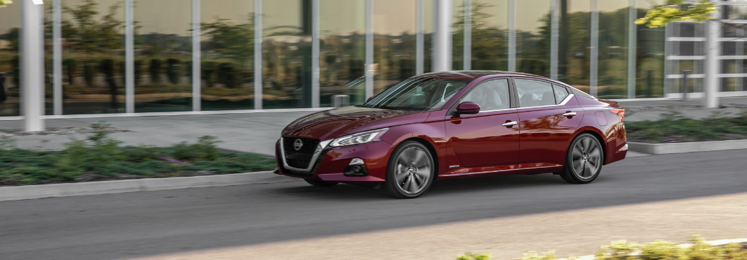 side view of red 2019 nissan altima