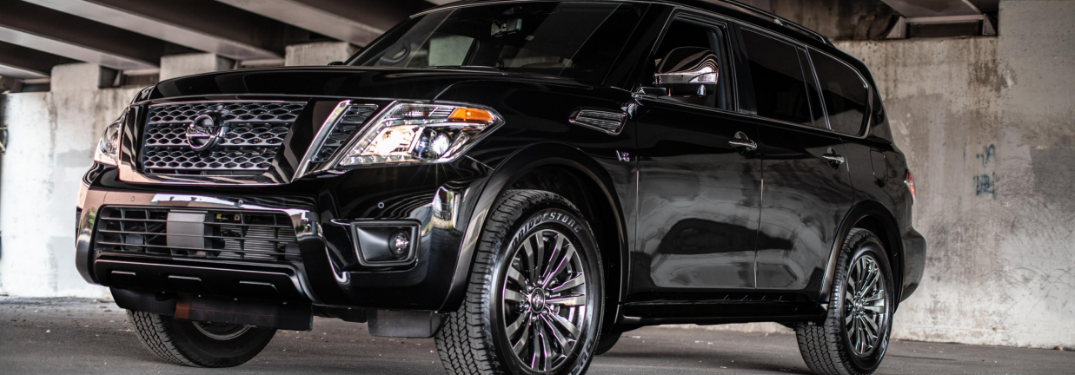 front and side view of black 2019 nissan armada