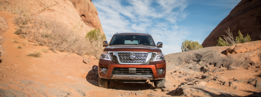 front view of orange 2019 nissan armada