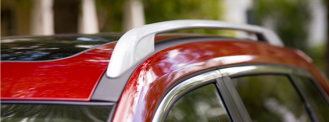 exterior roof rails of red 2019 nissan rogue