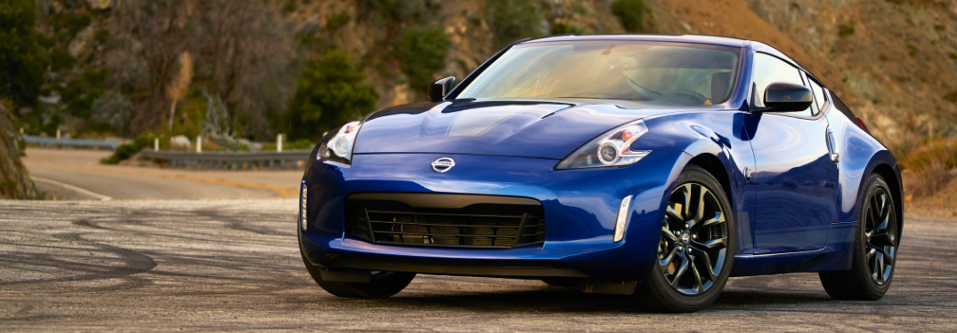 front and side view of blue 2019 nissan 370z sports car