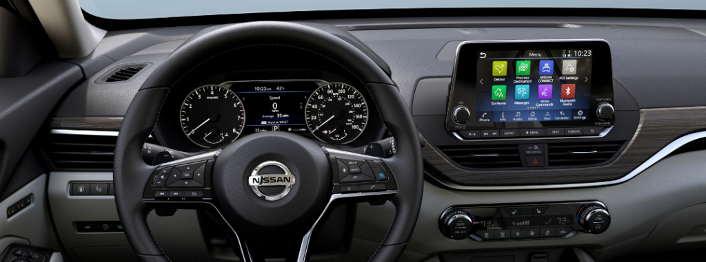 front interior of 2019 nissan altima including steering wheel and infotainment system