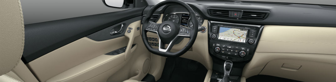 An interior photo showing the dashboard of the 2020 Nissan Rogue.