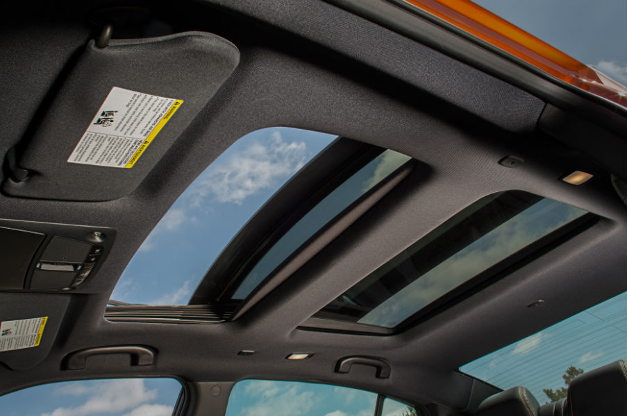 A photo of the dual panoramic moon roofs in the 2020 Maxima.