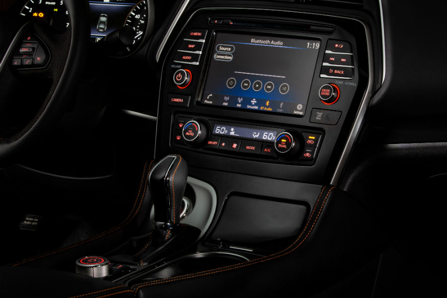 A photo of the infotainment system in the 2020 Maxima.