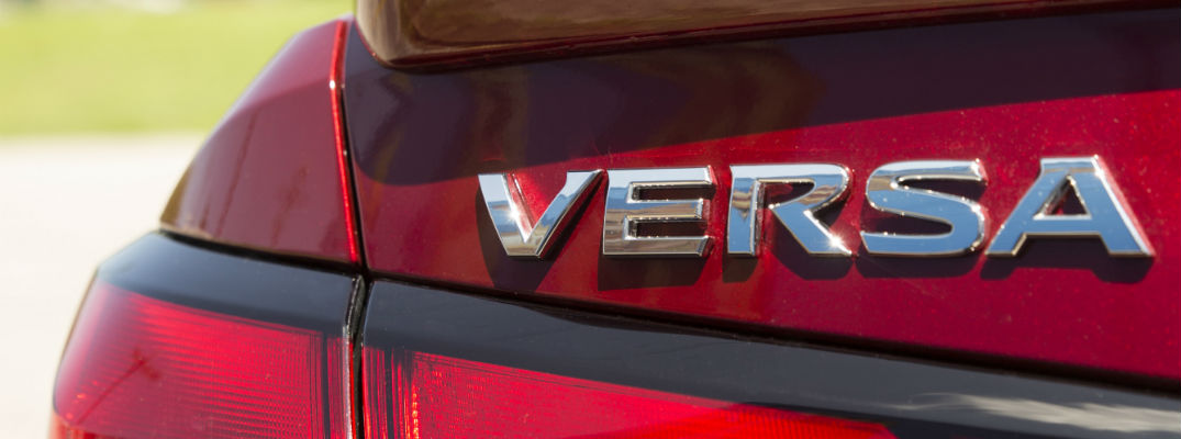 A photo of the Versa badge used on the back of the 2020 Nissan Versa.