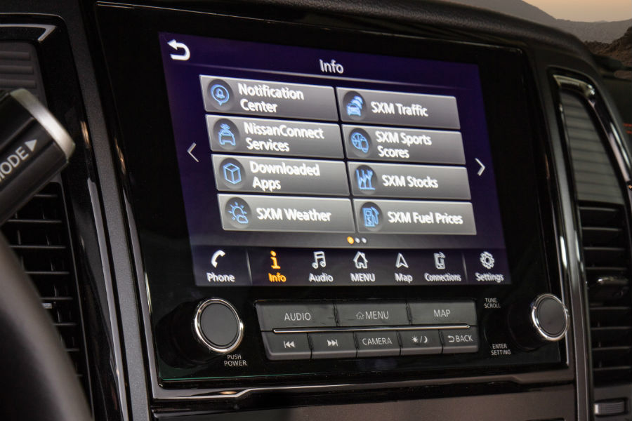 A photo of the touchscreen interface used by the 2020 Nissan Titan.