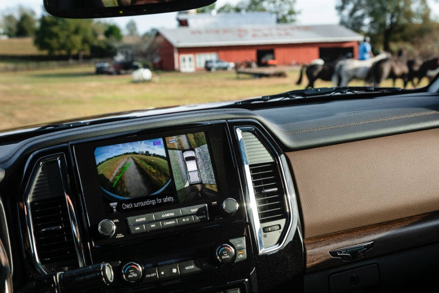 A photo of the rear view camera used by the 2020 Nissan Titan XD.