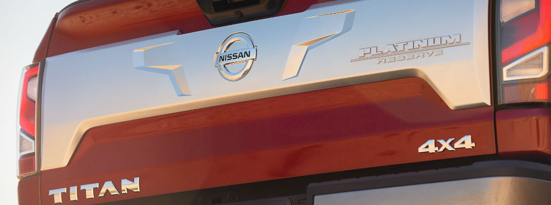 A photo of the Titan badge on the tailgate of the 2020 Nissan Titan.