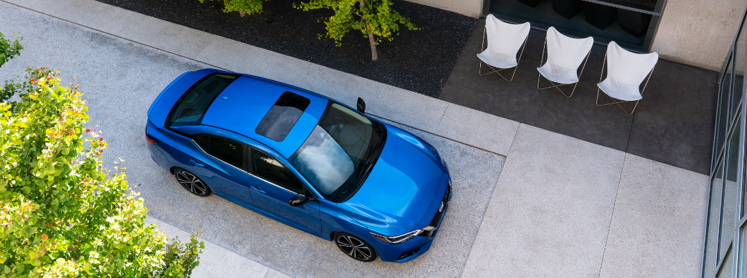 An overhead photo of the 2020 Nissan Sentra parked in a courtyard.
