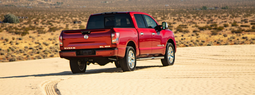 A photo of the 2020 Nissan Titan parked in the desert.