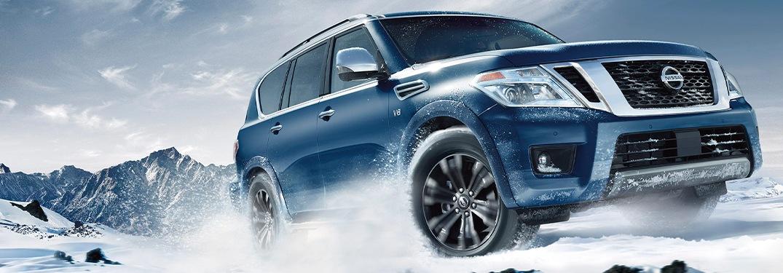2020 Nissan Armada going through the snow