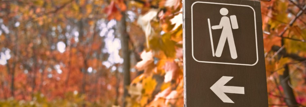 Hiking trail sign with autumn leaves in background