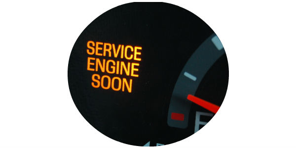 Check Engine Soon Light On Dashboard With View Of The Spedometer