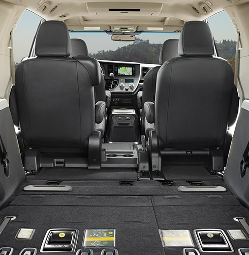 2016 toyota sienna interior cargo space third row folded down orland toyota. Black Bedroom Furniture Sets. Home Design Ideas