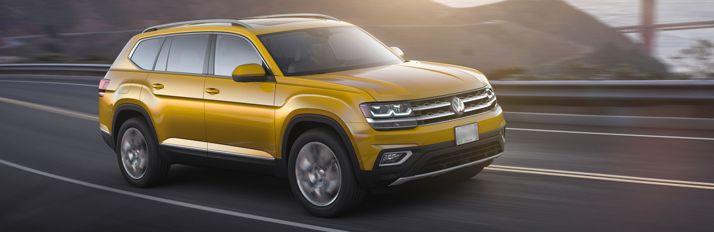 Yellow 2018 Volkswagen Atlas driving on the highway