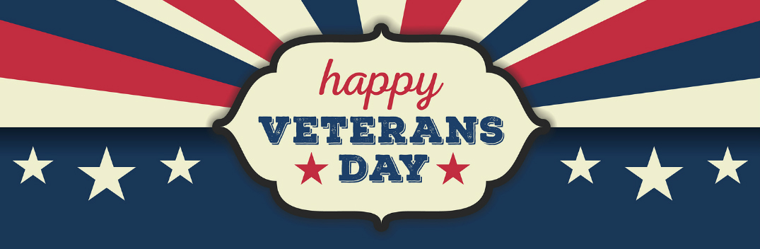 Veterans Day Logo with Red, White and Blue Colors