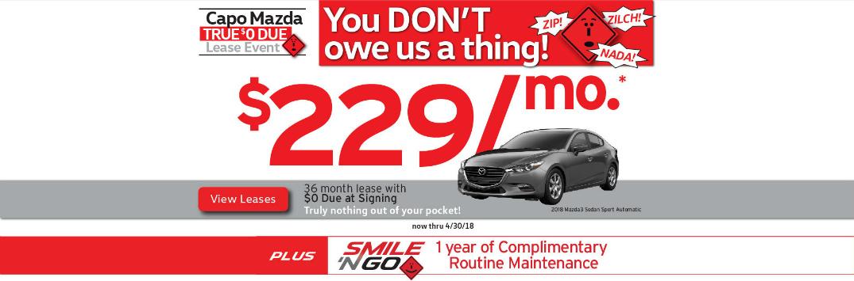 Details of Capo Mazda True $0 Due Lease Event and Grey 2018 Mazda3 Sedan