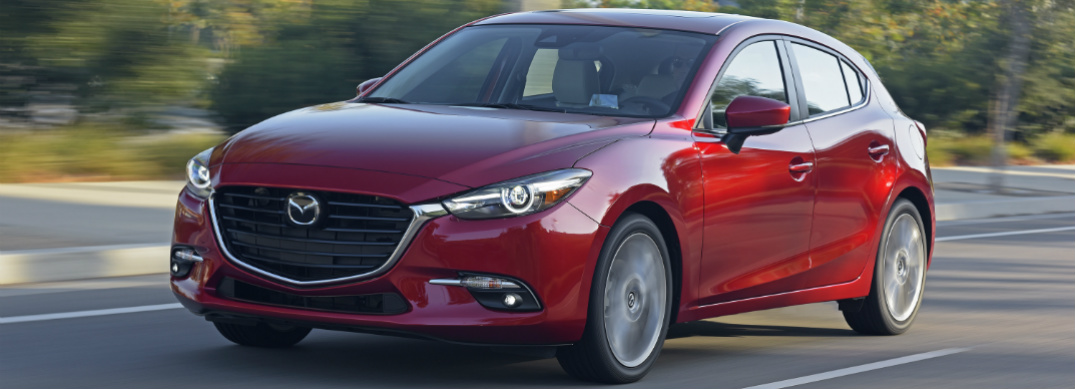 Front View of Red 2018 Mazda3 Sedan