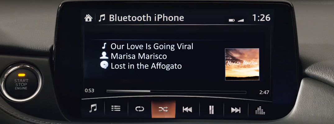 Demonstration of Streaming Audio Content Via Bluetooth in a Mazda Vehicle