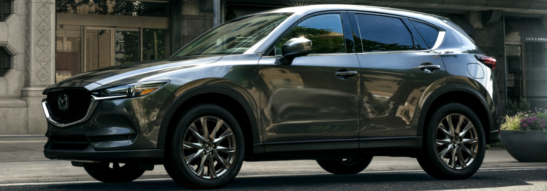 Side view of grey 2019 Mazda CX-5 Signature