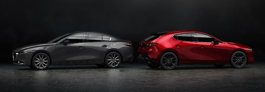 Side view of grey 2019 Mazda3 Sedan and red 2019 Mazda3 Hatchback