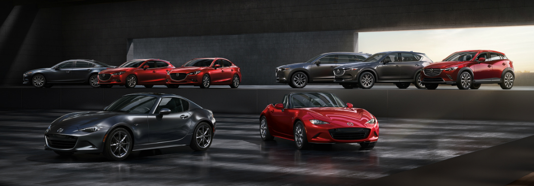Full 2019 Mazda model lineup parked in a showroom