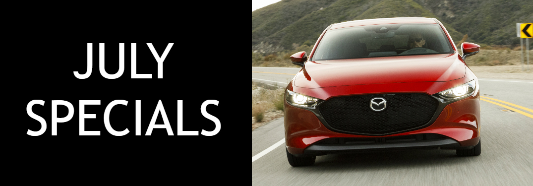 July Specials title and a red 2019 Mazda3 Hatchback