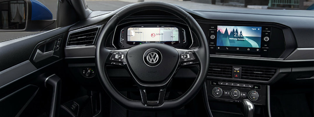 Interior view of the technology features on the dashboard of a 2019 Volkswagen Jetta