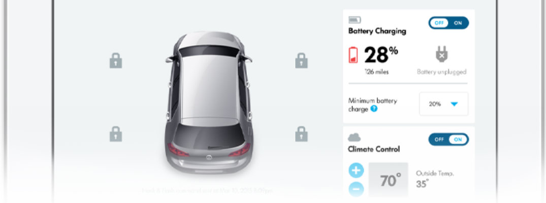 Closeup view of the Volkswagen Car-Net® Security & Service application