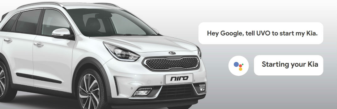2018 Kia Niro Plug-In Hybrid Exterior Front Passenger Side with Google Assistant Speech Bubbles