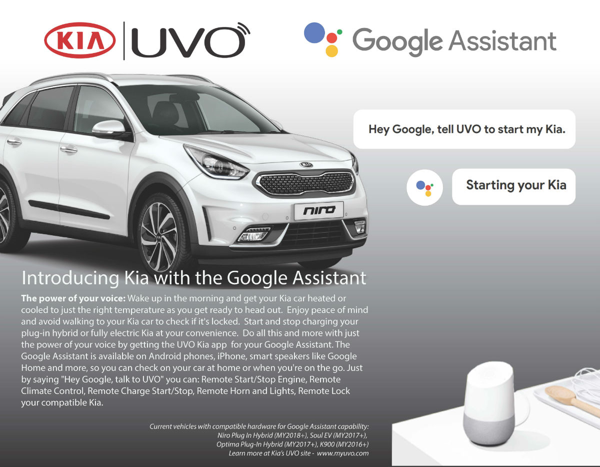 Does Google Assistant work with the Kia UVO app?
