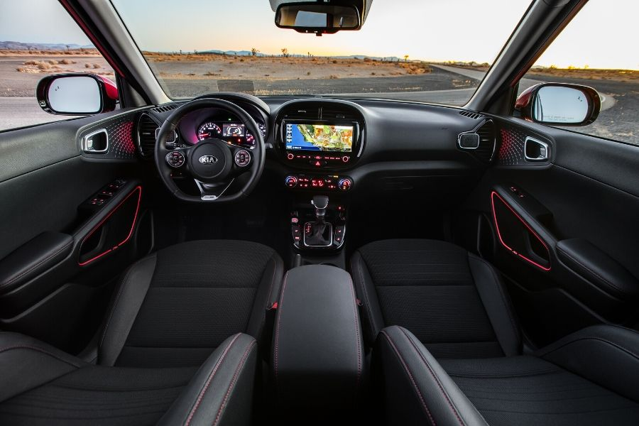 Driver cockpit and front seat of 2020 Kia Soul