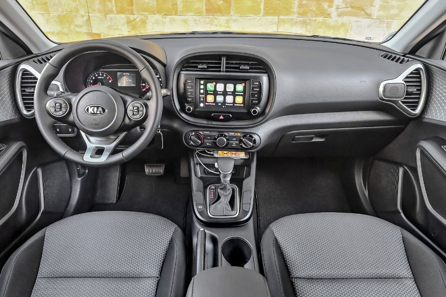 View of front dash of 2020 Kia Soul