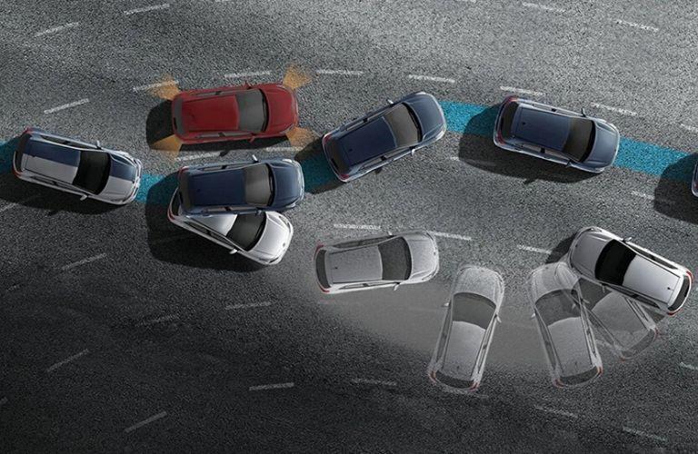 Visual representation of the 2020 Kia Rio active safety features