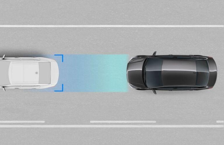 Visual representation of the 2020 Kia Rio Forward Collision-Avoidance Assist feature