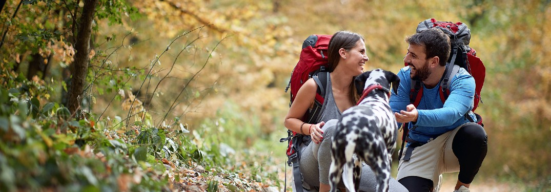 Couple smiling at each other with dog on hike