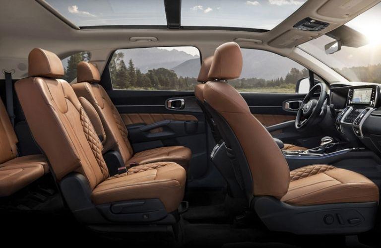2021 Kia Sorento interior seating and steering console view
